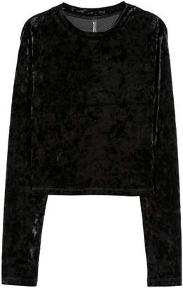 H&M Crushed-velvet Top - Black