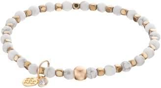 Tfs Jewelry TFS Jewelry 14k Gold Over Silver White Howlite Bead Stretch Bracelet