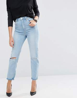 ASOS FARLEIGH High Waist Slim Mom Jeans In Sweet Mid Stonewash with Busted Knees $56 thestylecure.com