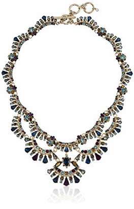 Marchesa Women's Gold- Tone Blue Drama Collar Necklace