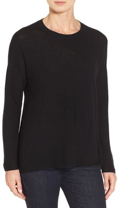 Eileen Fisher Merino Wool Ballet Neck Elliptical Hem Sweater $238 thestylecure.com