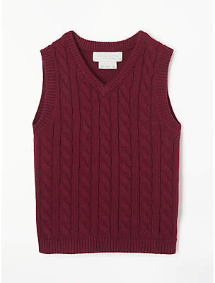John Lewis & Partners Boys' Cable Knit Tank Top, Red
