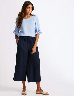 Marks and Spencer Pure Linen Cropped Wide Leg Trousers