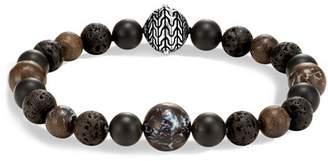 John Hardy Men's Sterling Silver Classic Chain Bracelet with Boulder Opal, Matte Black Onyx & Black Volcanic Rock