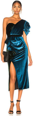 Self-Portrait Self Portrait One Shoulder Velvet Midi Dress in Green & Teal | FWRD
