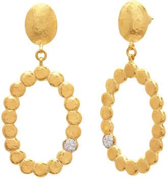 Gurhan Spell Pebble 22K Oval Lentil Drop Earrings w\/ Diamonds