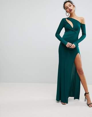 Club L Maxi Dress with Wrap Front and Clevage Cut