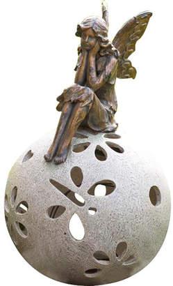 Plow & Hearth Daydreaming Fairy Solar Light Garden Statue