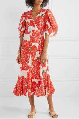 Rhode Resort Fiona Floral-print Cotton-voile Wrap Midi Dress - Red
