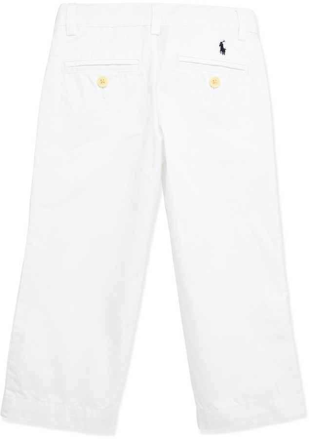 Ralph Lauren Suffield Crinkled Cotton Pants, White, Boys' 4-7