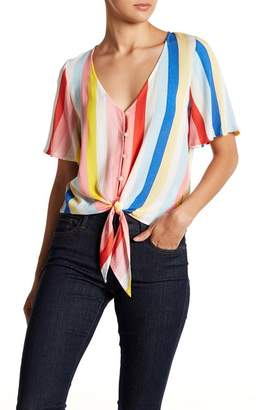 Love, Fire Tie Front Button Down Tee