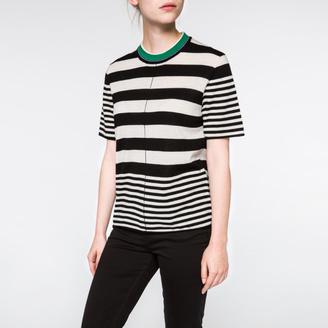 Women's Irregular-Stripe Merino Wool Sweater $250 thestylecure.com