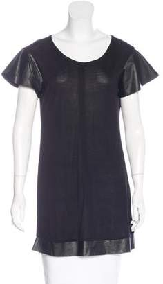 Alexis Leather-Trimmed Butterfly Sleeve Tunic