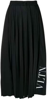 Valentino pleated logo midi skirt