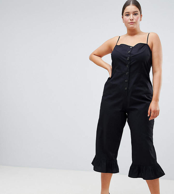 DESIGN Curve cotton frill hem jumpsuit with square neck and button detail