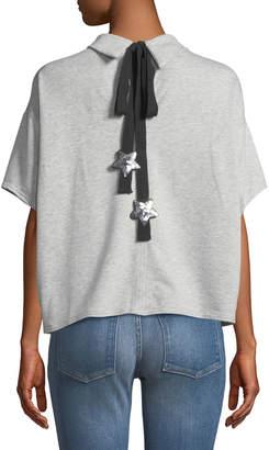 Lumie Sequin-Star Tie-Back Dolman-Sleeve Blouse