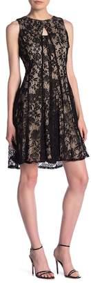Gabby Skye Sleeveless Floral Lace Knit Dress