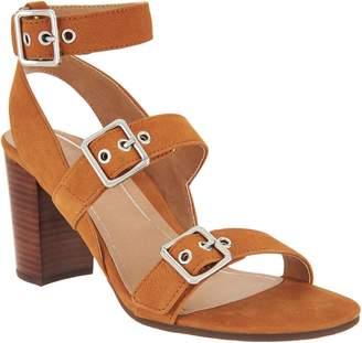 Vionic Orthotic Block-Heel Leather Sandals - Carmel