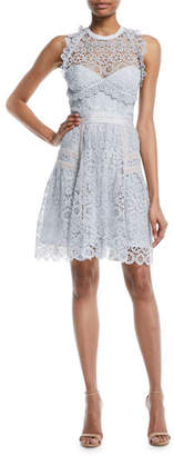 Self-Portrait Floral Lace Frill Mini Halter Dress