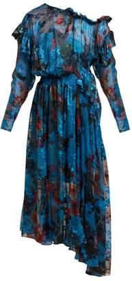 Preen by Thornton Bregazzi Stephanie Silk Blend Devore Midi Dress - Womens - Blue