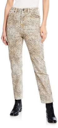 Alexander Wang Cult Rise Micro Cheetah-Print Straight-Leg Jeans