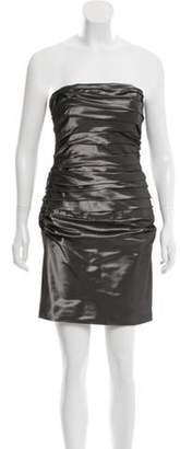 Ralph Lauren Ruched Strapless Dress Grey Ruched Strapless Dress