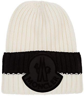 1acf6e78a4e Moncler Men s Logo Patch Wool Beanie - Black