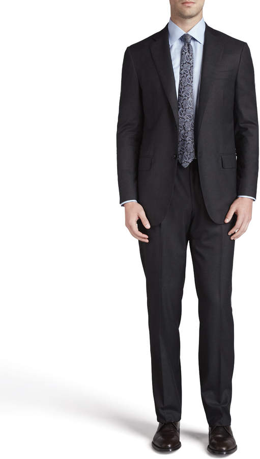 Isaia Solid Wool Suit, Navy