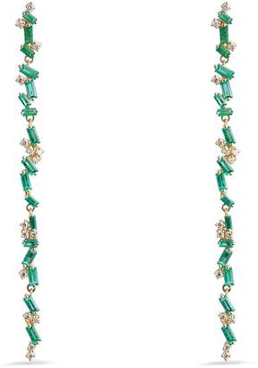 Suzanne Kalan Yellow Gold, Diamond and Emerald Fireworks Drop Earrings