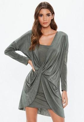 Missguided Khaki Slinky Plunge Cowl Neck Bodycon Mini Dress