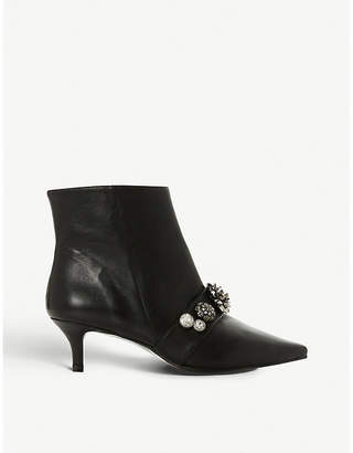 Dune Black Onyxe embellished leather ankle boots