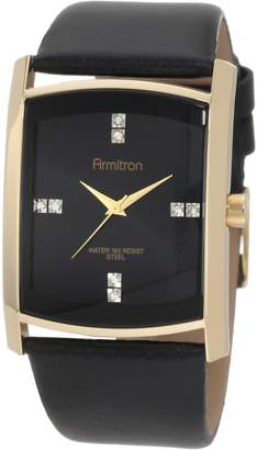 Swarovski Armitron Men's 204604BKGPBK Crystal Accented Gold-Tone Leather Strap Watch