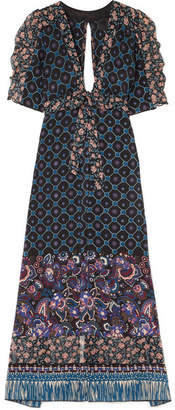 Anna Sui - Printed Silk-chiffon Robe - Blue