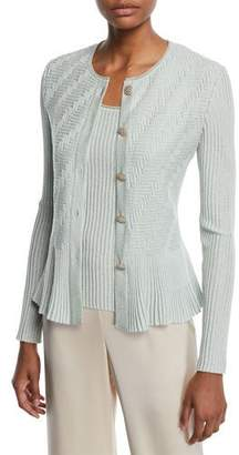 St. John Aria Button-Down Fit-and-Flare Cardigan