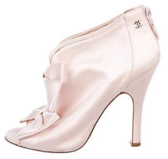 Chanel Satin Bow Ankle Boots