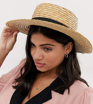 d04135966af013 South Beach straw boater hat with black ribbon