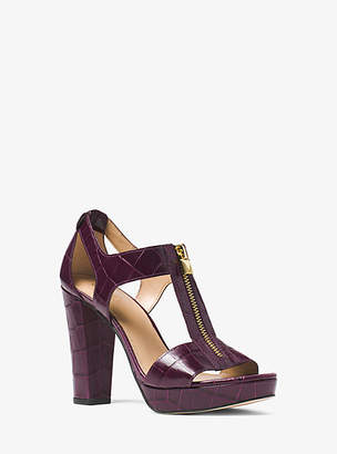 Michael Kors Berkley Lock Embossed-Leather Platform Sandal