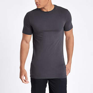 River Island Mens Grey muscle fit crew neck t-shirt