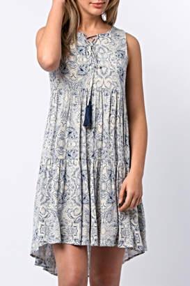 Paper Crane Sleeveless Tassel Dress