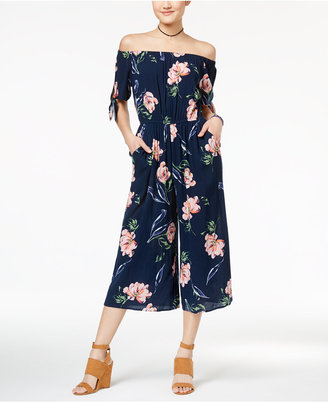 Fire Juniors' Printed Off-The-Shoulder Jumpsuit $54 thestylecure.com