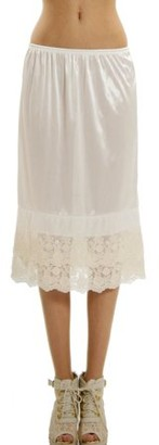 Melody Women's Long Double Layered Lace Satin Skirt Extender Underskirt Half Slip