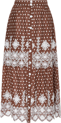 Embroidered Polka-Dot Cotton Skirt