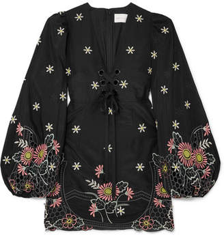 Alice McCall Honeycomb Daisy Embroidered Cotton And Silk-blend Mini Dress