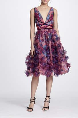 Marchesa Sleeveless Embroidered Dress