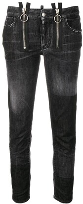 DSQUARED2 zipper runway straight cropped jeans
