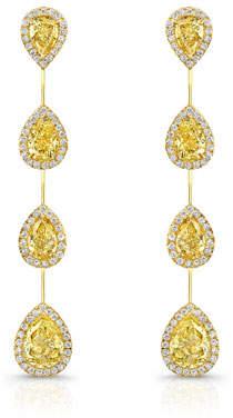 Rahaminov Diamonds 18k Fancy Intense Diamond Bar Earrings