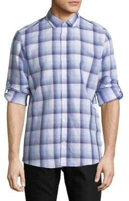 Calvin Klein Long-Sleeve Plaid Sport Shirt