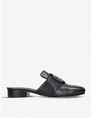 Dorateymur Petrol backless leather loafers
