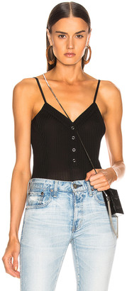 Fleur Du Mal Ribbed Knit Snap Front Bodysuit in Black   FWRD