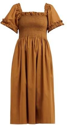 Molly Goddard Adelaide Smocked Cotton Poplin Midi Dress - Womens - Brown